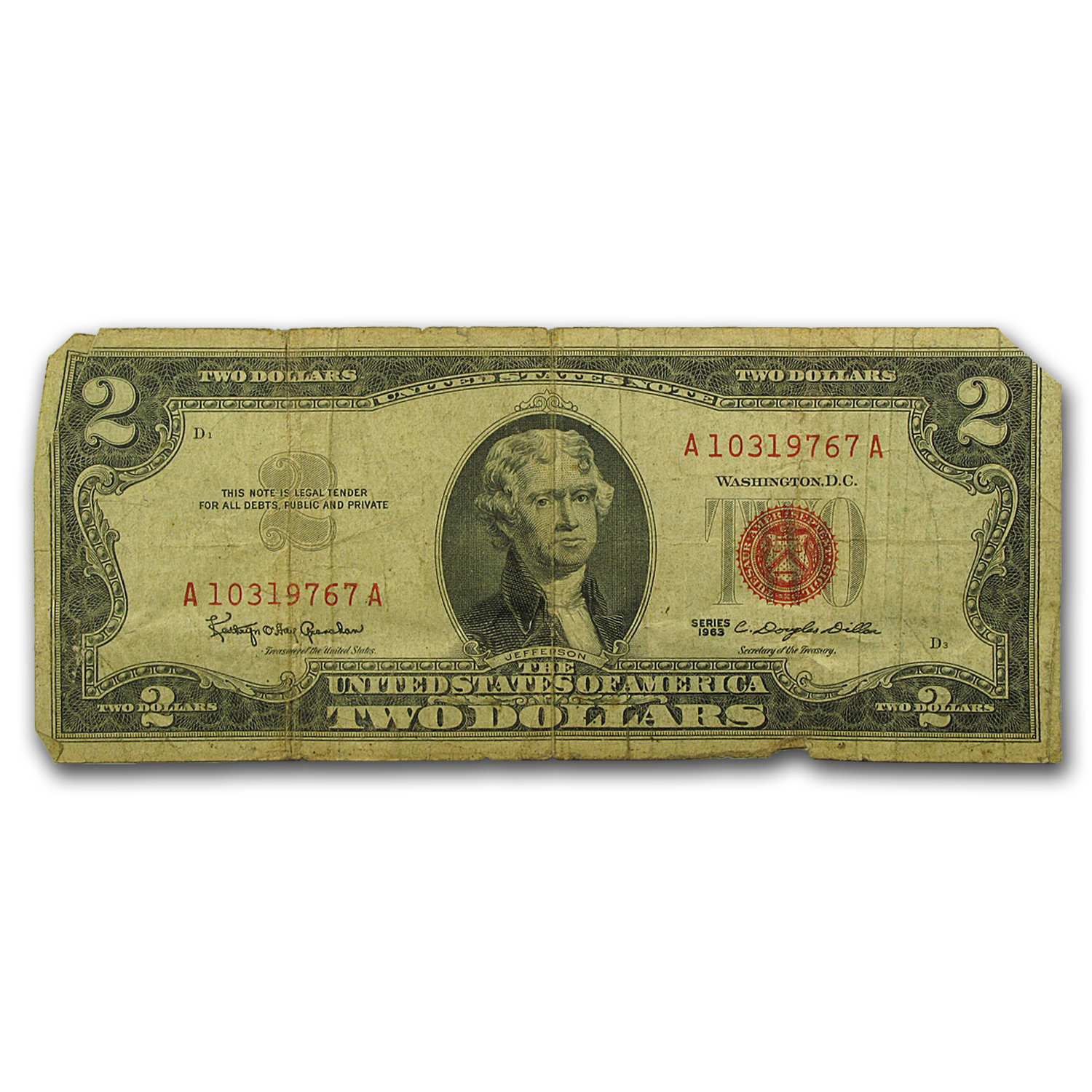 1963/1963-A $2.00 U.S. Notes Red Seal Cull/Good